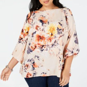 Charter Club Pink Floral Bell Cuff Top NEW A7-10